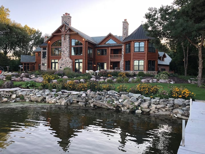 Massive 10,000 sq ft Log Cabin on the Bay