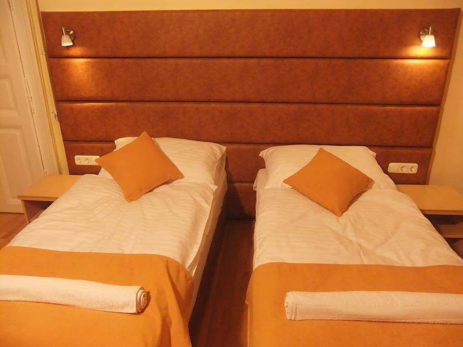 Comfortable single beds can be attached to one doublebed upon guest request.
