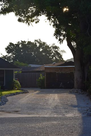 A large shell driveway to accommodate guest parking.