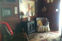 Antique cabin on working farm.