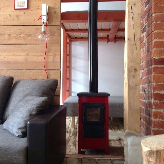 Check out the lamp and the fireplace!