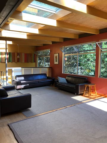large open living area with skylights