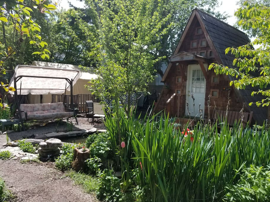 Tiny house. Swing and pond. Herbs & fresh veggies growing right out the door.