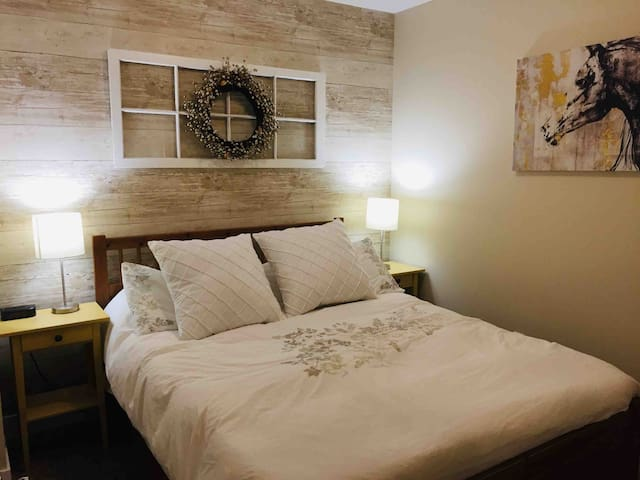 Giddy Up! Queen size bedroom with closet in basement.