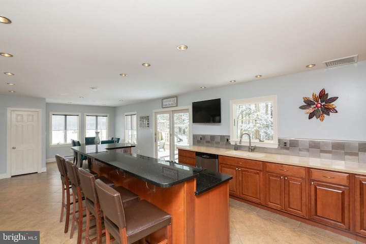 Kitchen with granite island counter top
