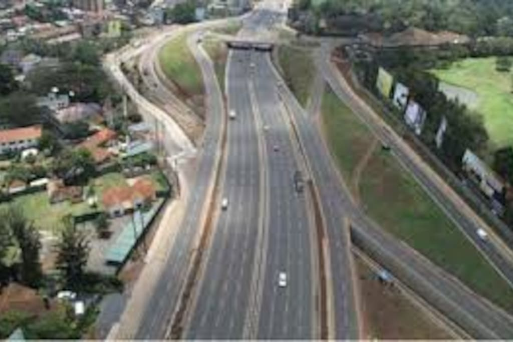 Thika superhighway is 5 mins drive away.