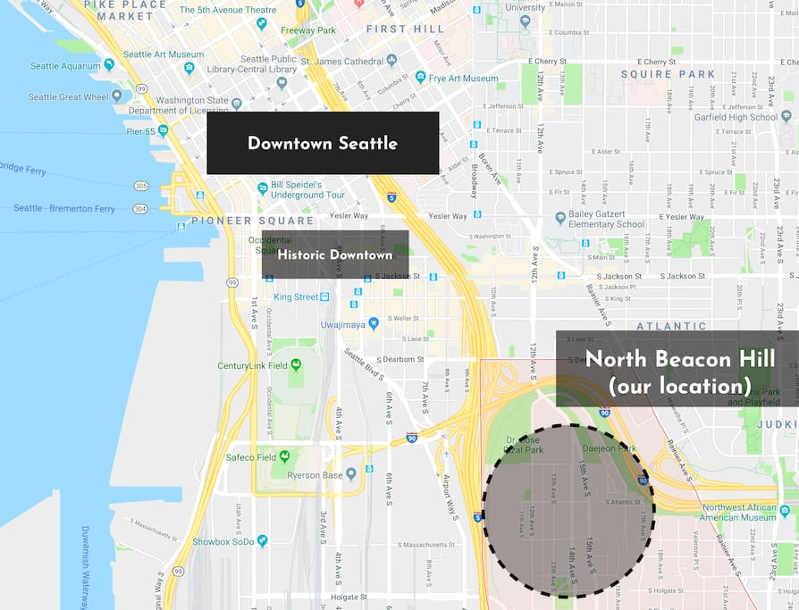 We are located in North Beacon Hill, one of Seattle's hottest growing neighborhoods and closest to Downtown Seattle.  We are very north...just a short walk downhill to the International District, Pioneer Square and the central retail core than most of Beacon Hill.