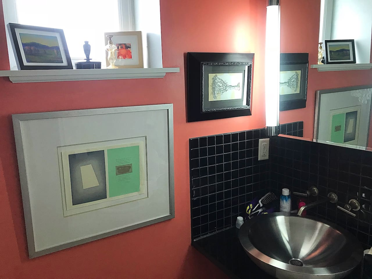Contemporary stainless steel bowl sink.