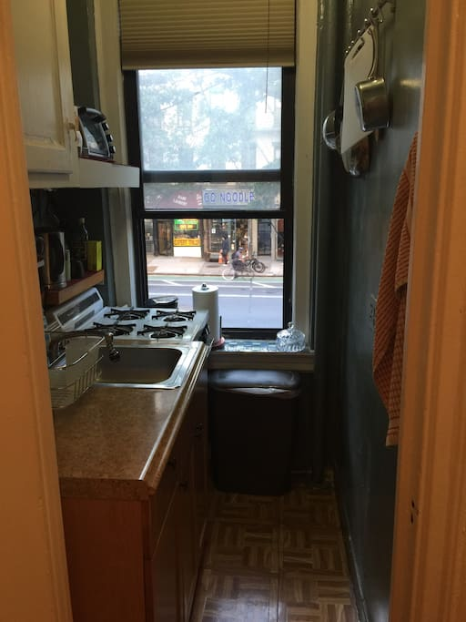 Kitchenette- with stove, toaster and coffee maker
