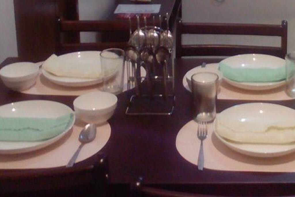 Table setting in dining area
