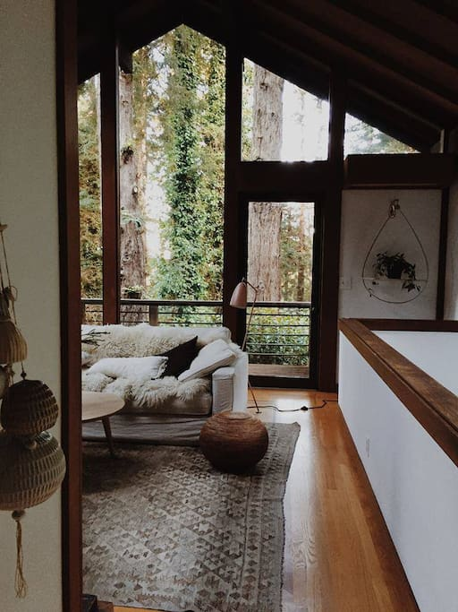 living room with front balcony