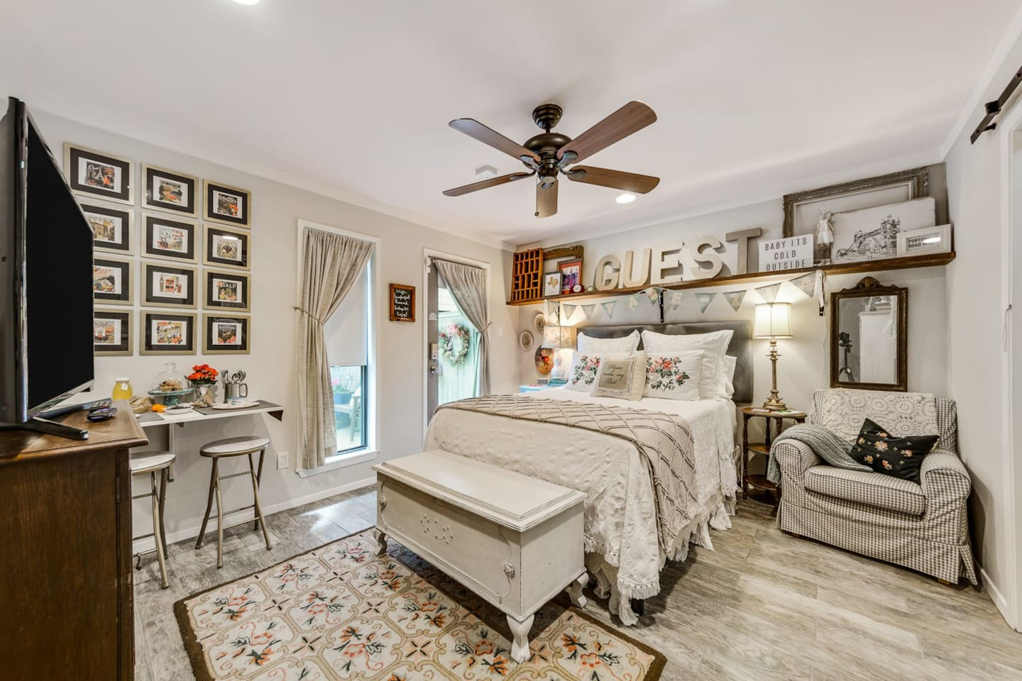 Private entrance with keyless entry and cozy queen bed.