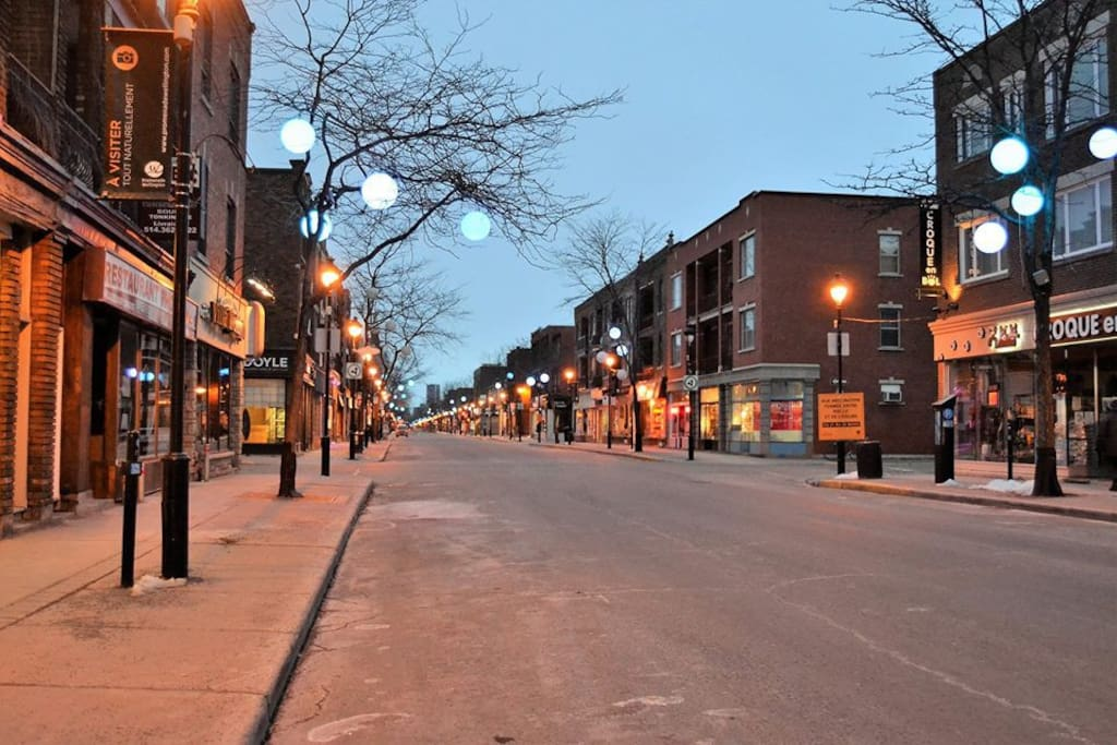 Wellington street in Verdun has great restaurants and shops approximately 10 minute walk
