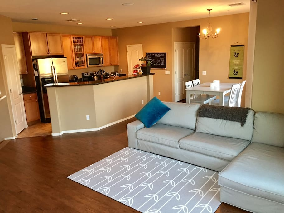 Living-dining-kitchen area / open floor plan