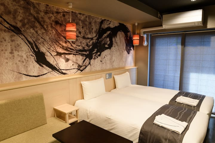 [5 mins on foot to Kinshicho Sta.] Perfect for sightseeing Tokyo/ [Free breakfast, Wi-Fi] Twin bedroom (25㎡)[A]