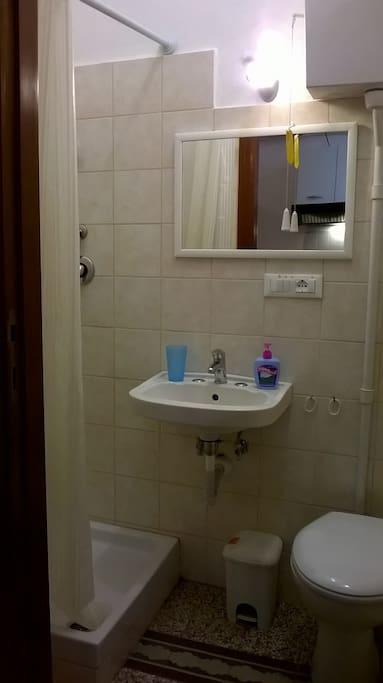 bagnetto privato con doccia, lavabo e wc