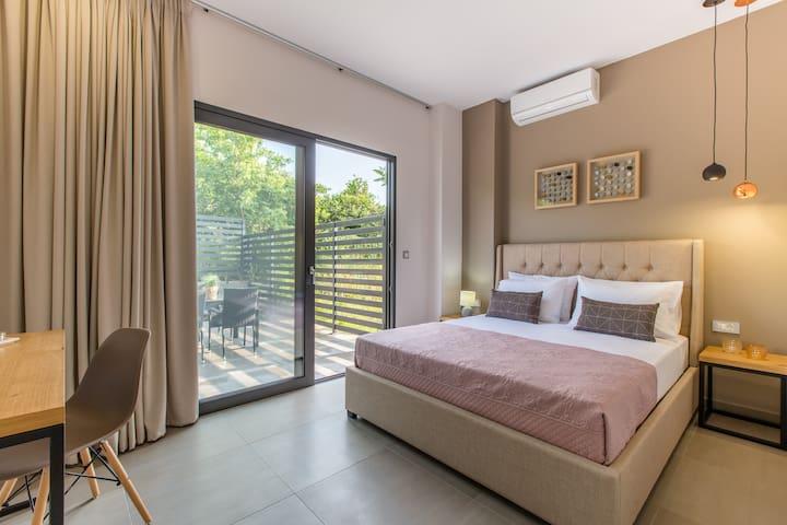 Ground floor ensuite double bedroom  with private veranda