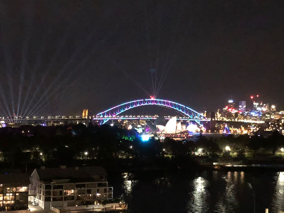 Photo taken from our rooftop terrace on 27/5/18. A perfect view of the Vivid Light Show in Sydney which is on from 26th May til 16th June 2018!