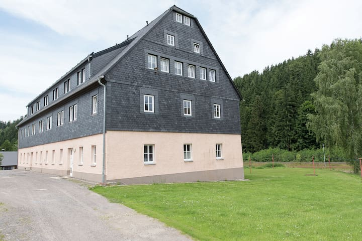 Modernly furnished apartment in the Ore Mountains with use of garden