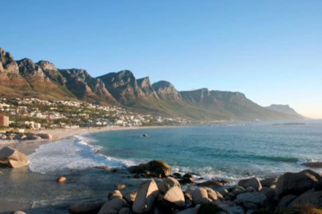 Camps Bay Beach with the Twelve Apostles of Table Mountain as backdrop