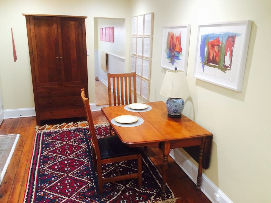 Dining area on the ground floor; the drop leaf table can seat up to 6.