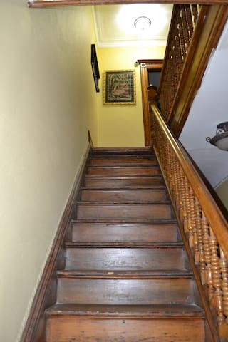 Staircase leading to apartment.
