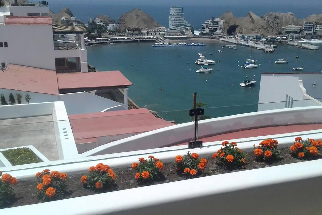 Vista a la bahía desde la terraza!!