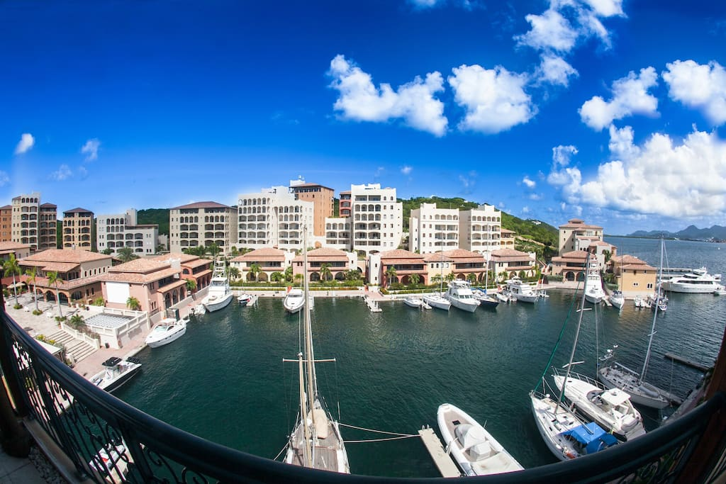 Penthouse view overlooking the Marina at Porto Cupecoy