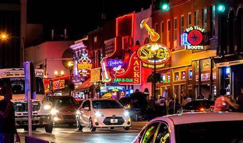 Half mile (6-10 min walk) to Broadway home of the Honky Tonks: Tootsies, The Stage, Roberts Western World, FGL House, Kid Rock's, Second Fiddle etc...could go on forever...electric scooters are also available throughout the city for 1+ per ride!