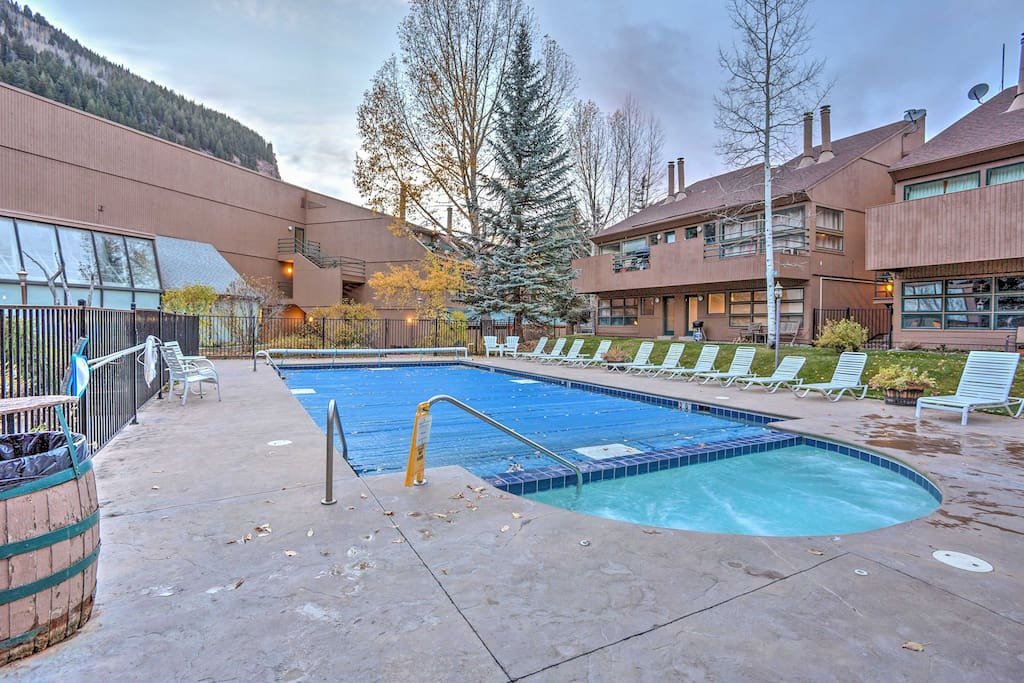 Bask in the sun next to the community pool and hot tub.