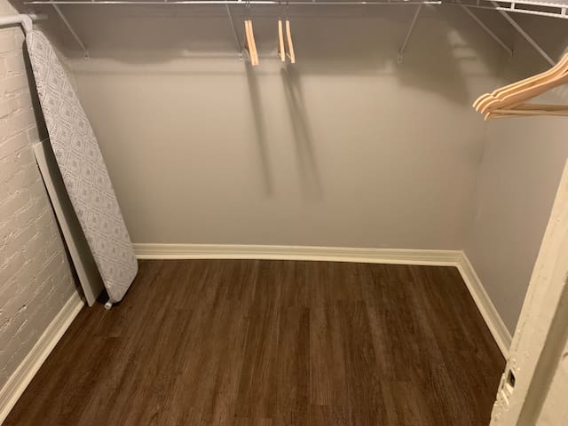 Full size walk in closet in the master