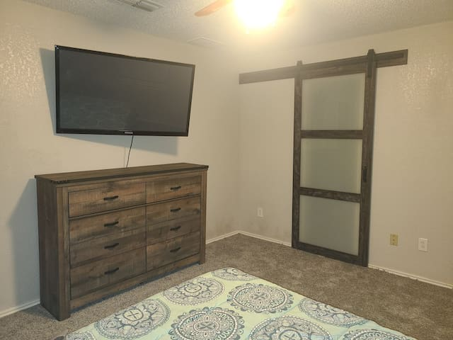 Ensuite includes closet and private full bath with stand up shower.
