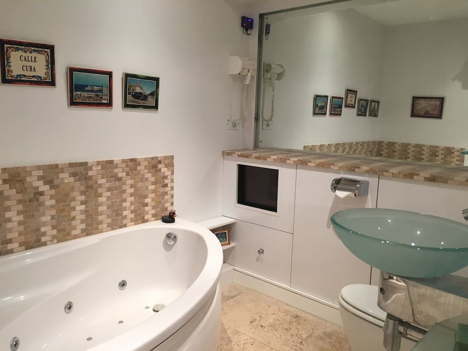 Modern Bathroom / one person jacuzzi / WC facilities wired for music via the wifi (Apple TV)