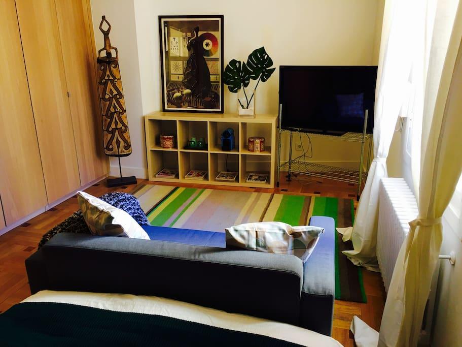 Vista del estudio. Zona con sofá, tv, revistas...