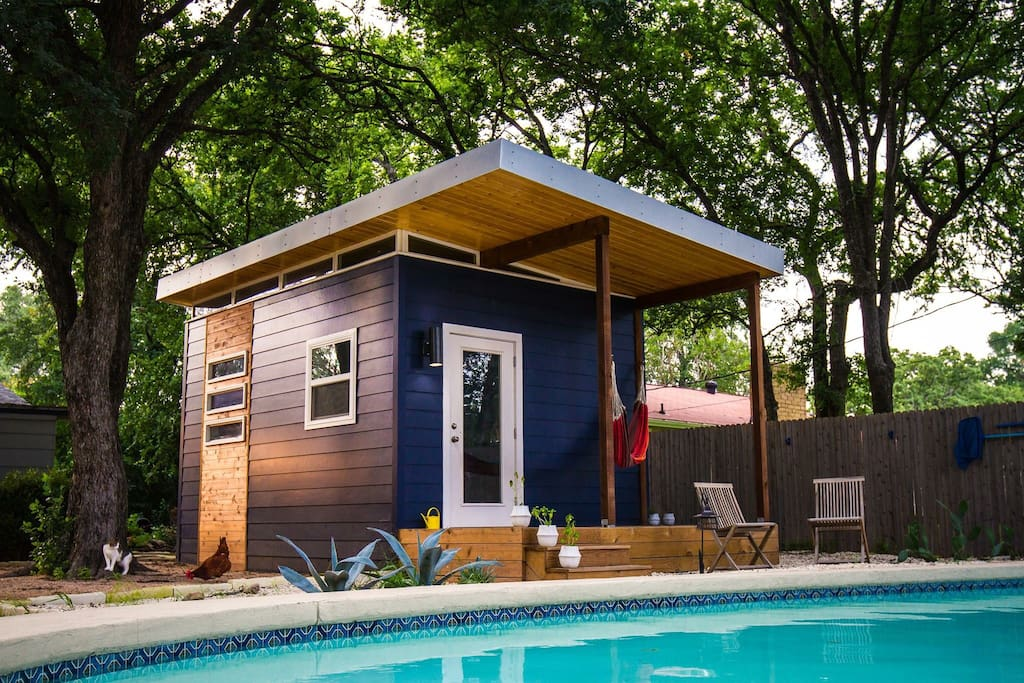 Picture yourself hanging out by our private pool (with our backyard chickens and two friendly cats, of course!)