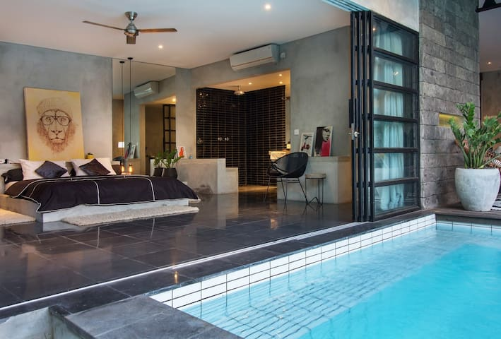 View from swimming pool to master bedroom