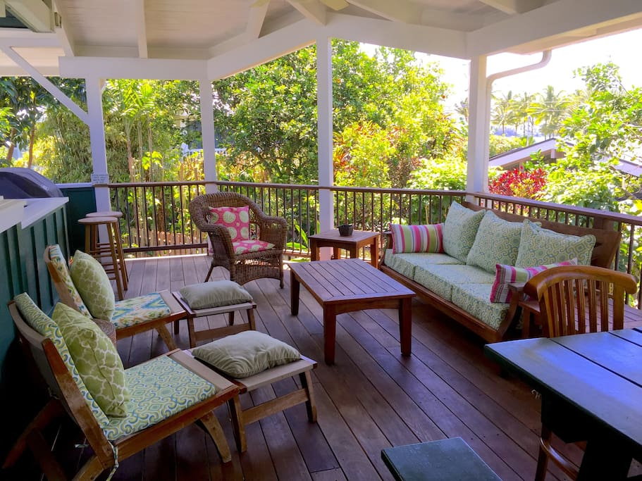 Large, ocean-view lanai w/BBQ, seating and picnic table for outdoor living