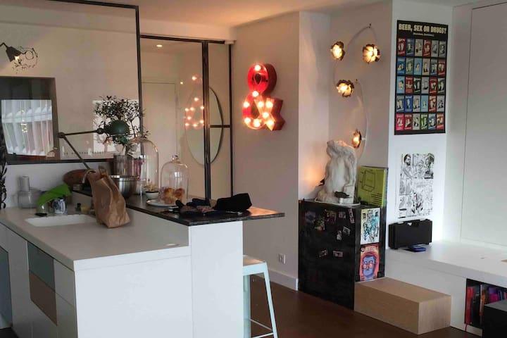 Beau studio Butte aux Cailles, lumineux, calme