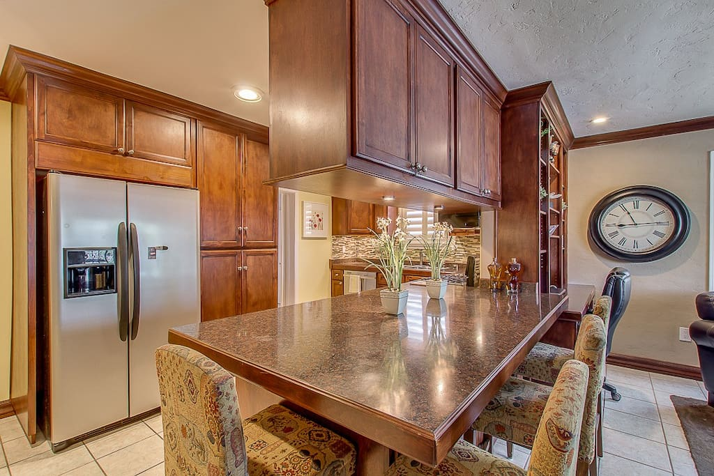 Newly remodeled kitchen including refrigerator space for guests