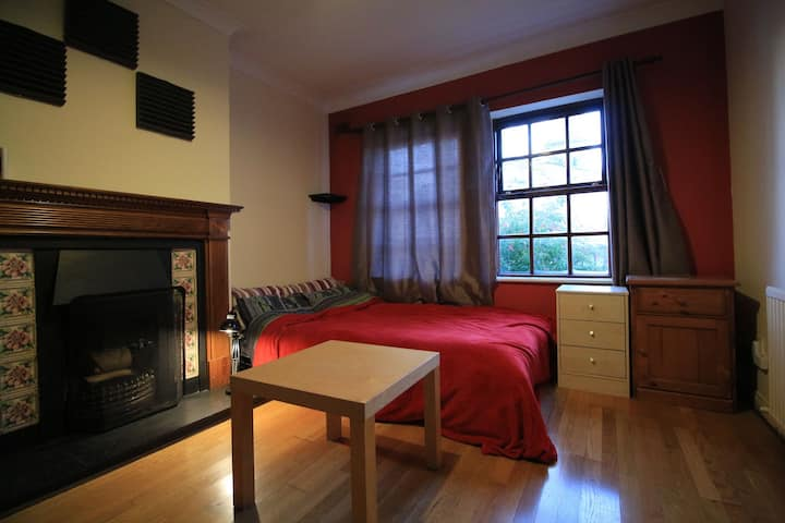 Double room with fire place in wooden indoor house