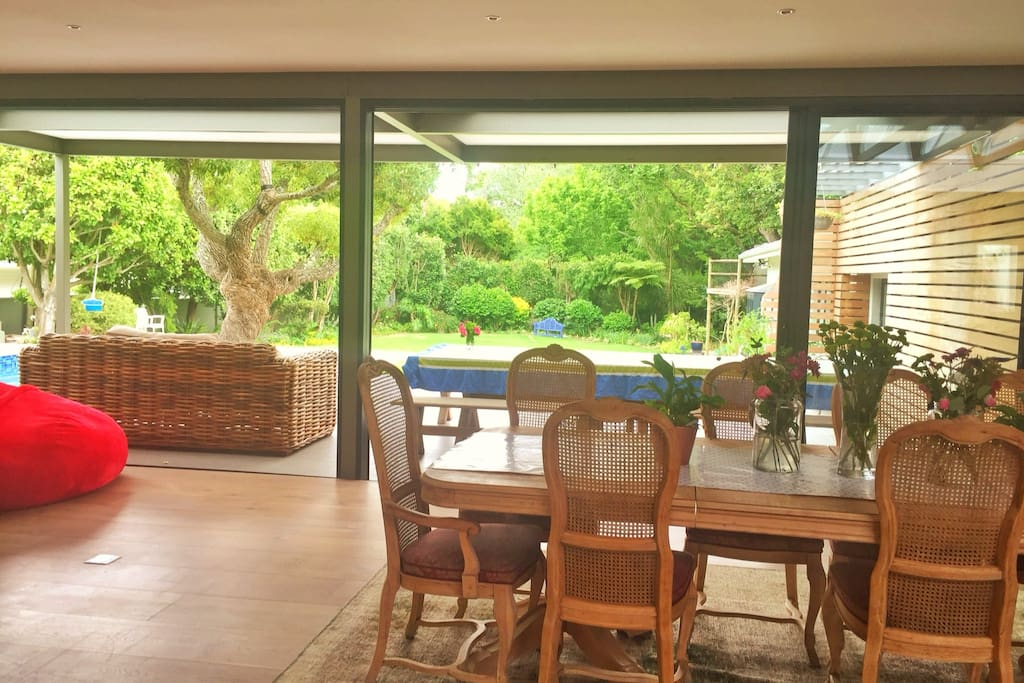 Fantastic indoor to outdoor flow. With seating for 10 dining room table.