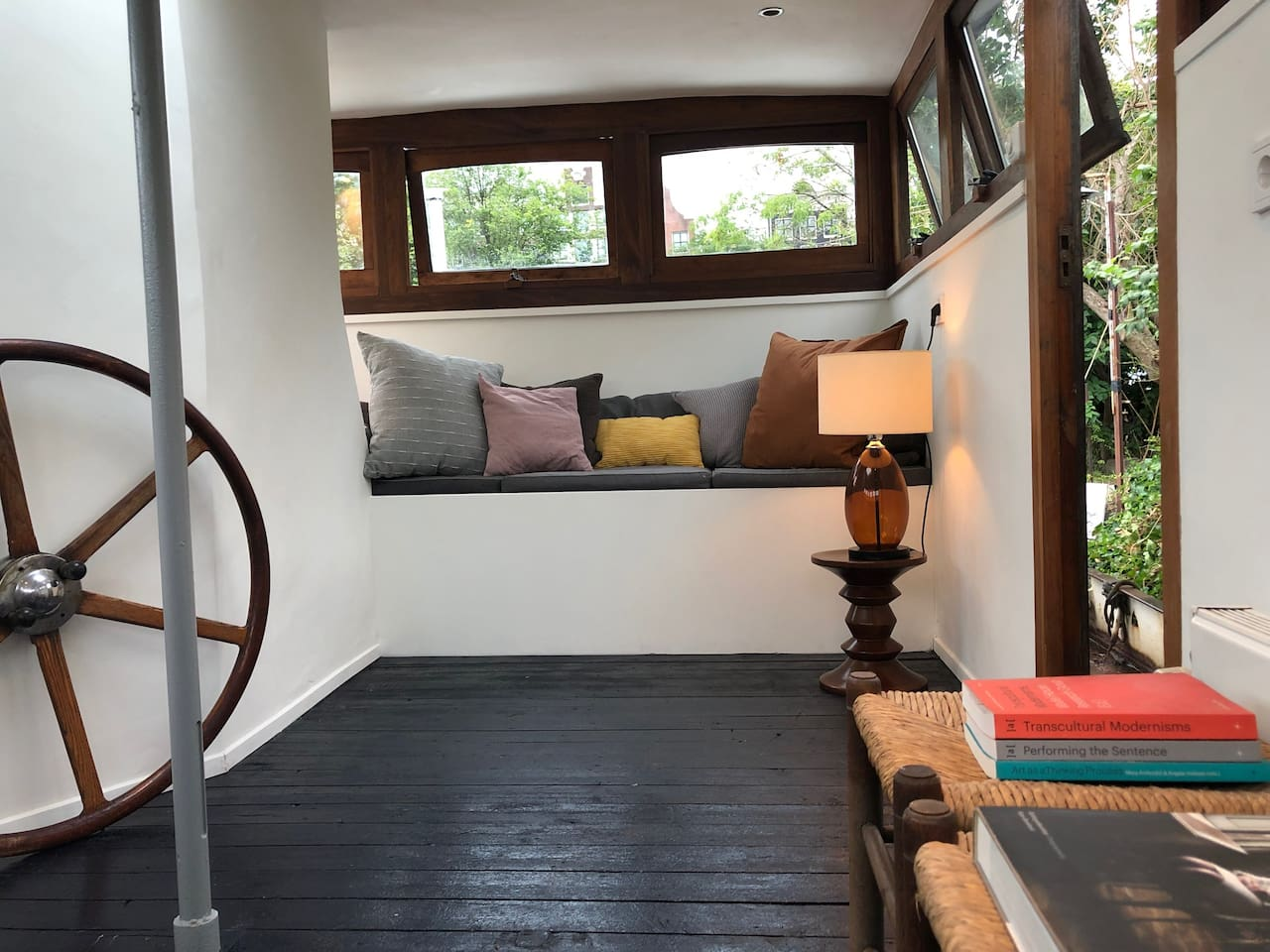 spacious private living room in the steering hut offering great views over the water