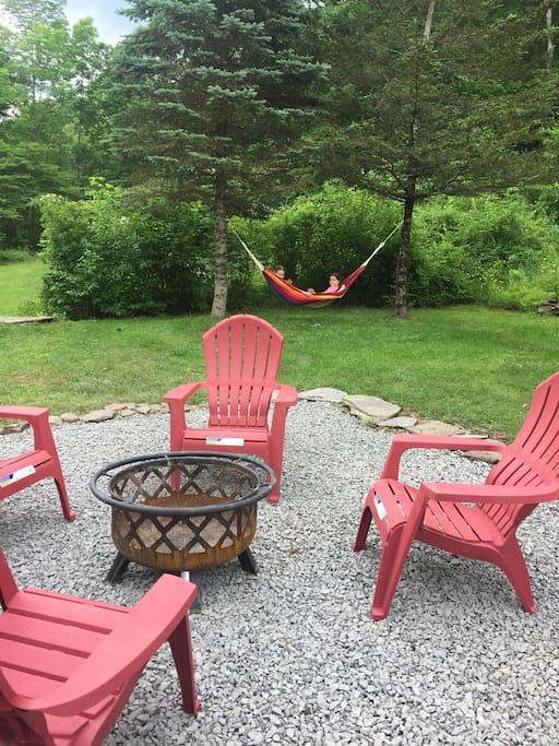 New fire pit area for cool nights and roasting marshmallows!  Oh, plus a nifty hammock.