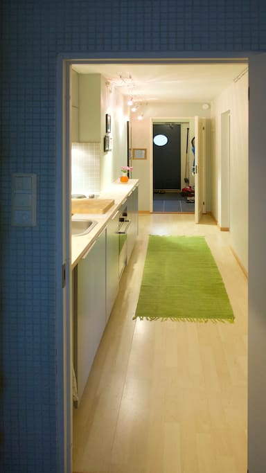 View from bathroom  to entrance and entrance door.