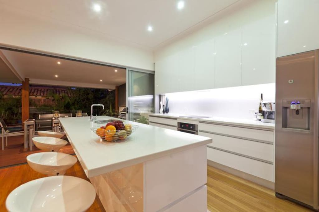 Modern kitchen with European appliances and butlers pantry