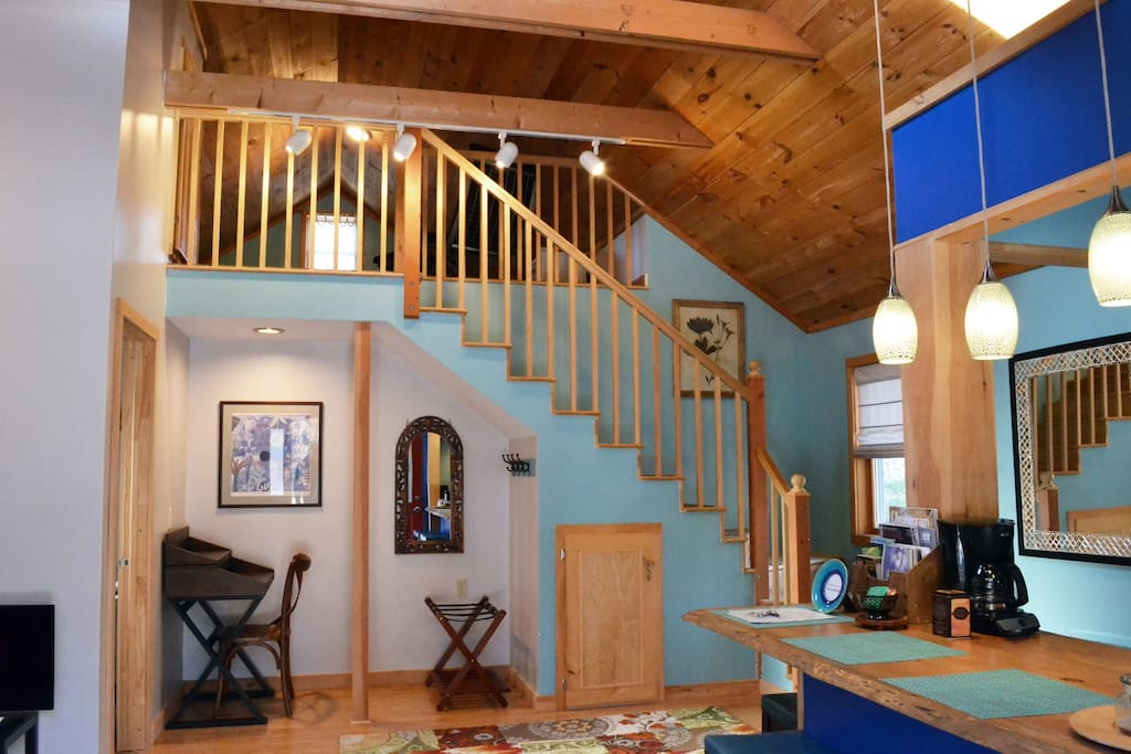 Staircase to sleeping loft.