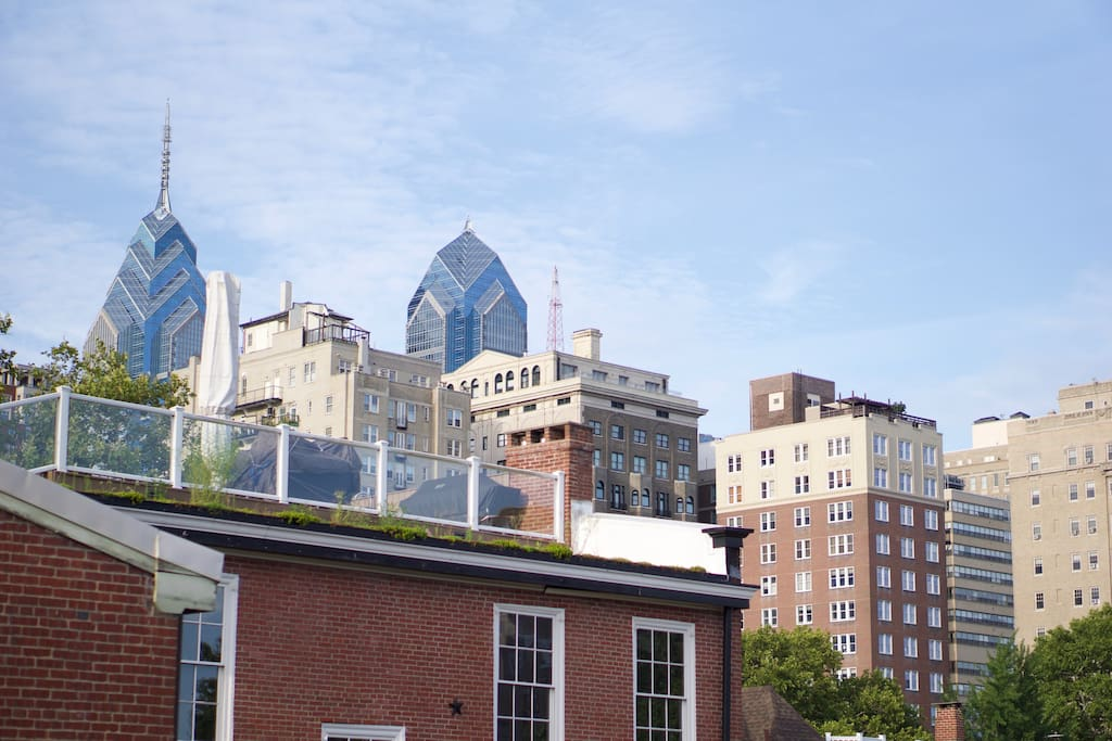 Beautiful view of center city from our private 3rd floor deck