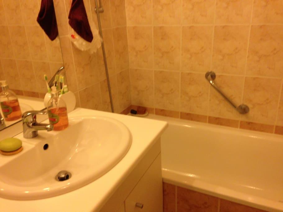 Salle bains avec baignoire-douche