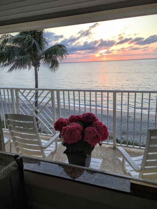 Sunrise view of balcony