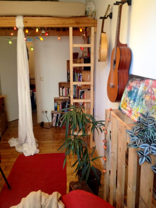 Plenty of things to explore and enjoy: musical instruments, the aerial yoga tissue...